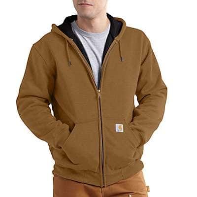 Carhartt Men's Carbon Heather Rain Defender® Rutland Thermal-Lined Hooded Zip-Front Sweatshirt - back
