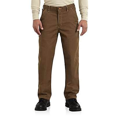 Carhartt Men's Mid Brown Flame-Resistant Washed Duck Work Dungaree