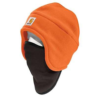 Carhartt Men's Brite Orange High-Visibility Color Enhanced Fleece 2-in-1 Hat - front