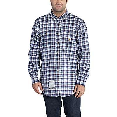 Carhartt Men's Navy Flame-Resistant Classic Plaid Shirt - front