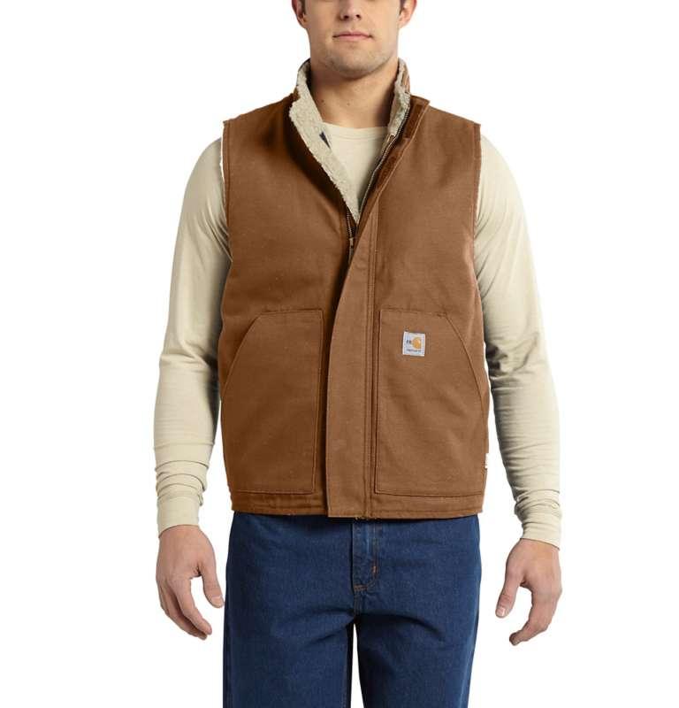 Carhartt  Carhartt Brown Flame-Resistant Mock Neck Vest
