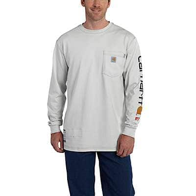 Carhartt Men's Light Gray Flame-Resistant Carhartt Force® Graphic Long-Sleeve T-Shirt - front