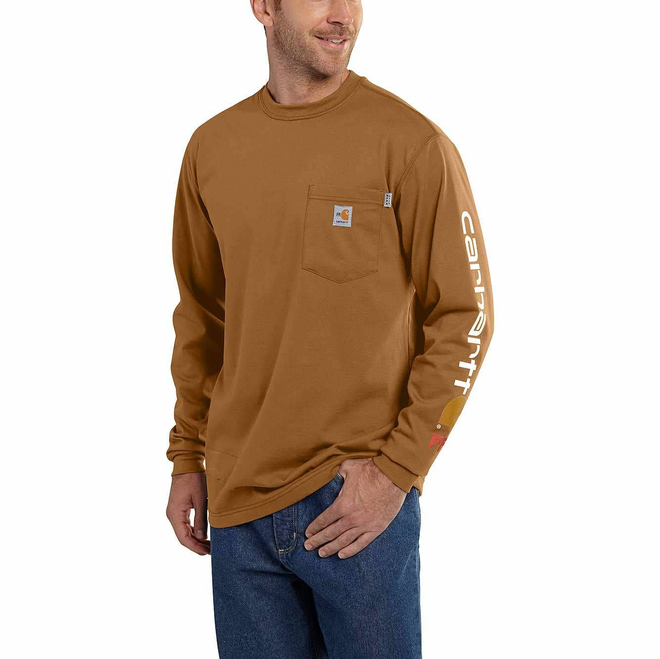 Picture of Flame-Resistant Carhartt Force® Graphic Long-Sleeve T-Shirt in Carhartt Brown