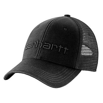 Carhartt Men's Black Canvas Mesh-Back Logo Graphic Cap