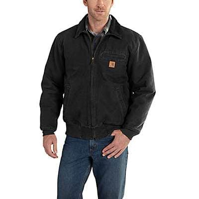 Carhartt Men's Black Bankston Quilted Flannel-Lined Bomber Jacket - front