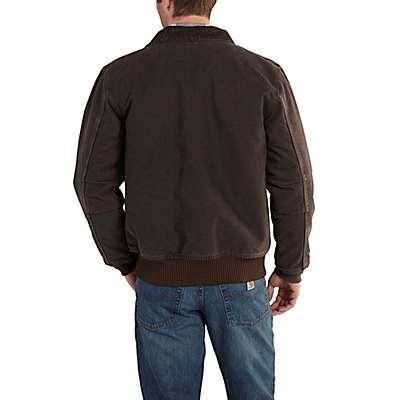 Carhartt Men's Black Bankston Quilted Flannel-Lined Bomber Jacket - back