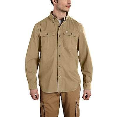 Carhartt Men's Dark Khaki Foreman Solid Long-Sleeve Work Shirt - front