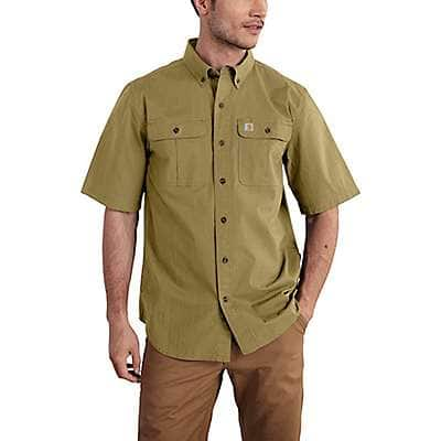 Carhartt Men's Dark Khaki Foreman Solid Short-Sleeve Work Shirt - front