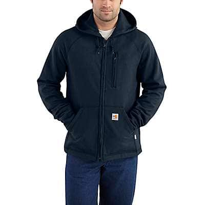 Carhartt Men's Dark Navy Flame-Resistant Carhartt Force® Hooded Full-Zip Fleece - front