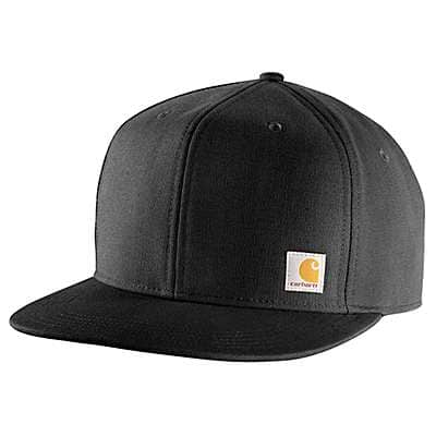 Carhartt Men's Black Firm Duck Flat Brim Cap