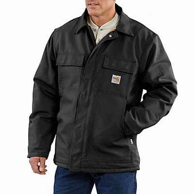 Carhartt Men's Black Flame-Resistant Duck Traditional Coat/Quilt-Lined - front