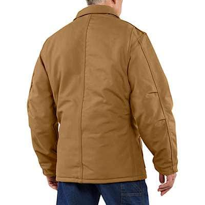Carhartt Men's Black Flame-Resistant Duck Traditional Coat/Quilt-Lined - back