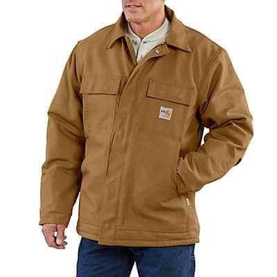 Carhartt Men's Carhartt Brown Flame-Resistant Duck Traditional Coat/Quilt-Lined