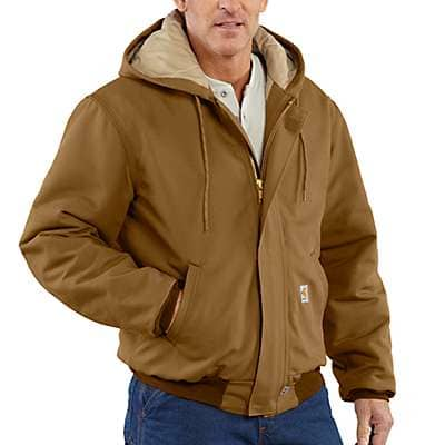Carhartt Men's Black Flame-Resistant Duck Active Jac/Quilt Lined - front