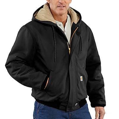 Carhartt Men's Black Flame-Resistant Duck Active Jac/Quilt-Lined