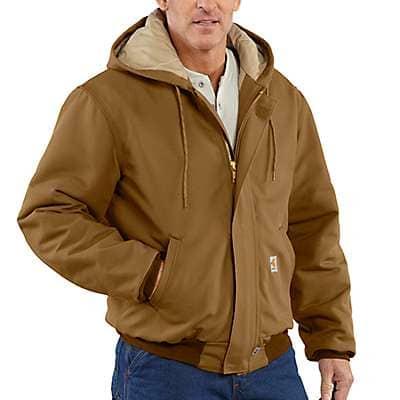 Carhartt Men's Carhartt Brown Flame-Resistant Duck Active Jac/Quilt-Lined