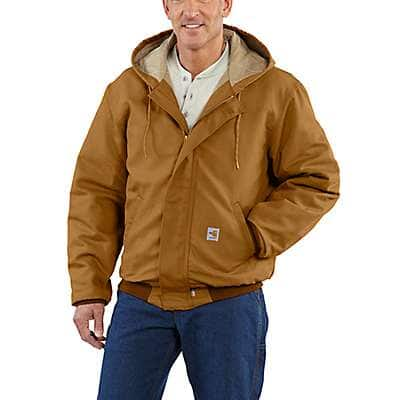 Carhartt Men's Carhartt Brown Flame-Resistant Midweight Active Jac/Quilt-Lined - front