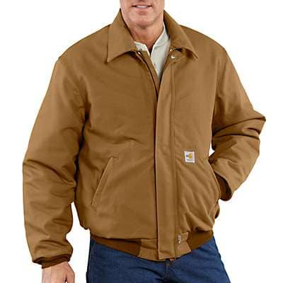 Carhartt Men's Carhartt Brown Flame-Resistant Duck Bomber Jacket/Quilt-Lined - front