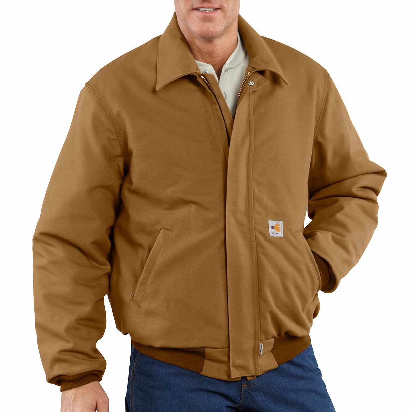 Picture of Flame-Resistant Duck Bomber Jacket/Quilt-Lined in Carhartt Brown