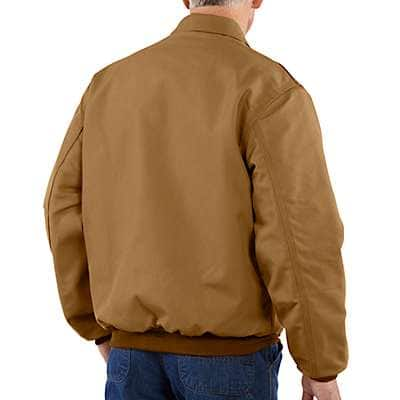 Carhartt Men's Carhartt Brown Flame-Resistant Duck Bomber Jacket/Quilt-Lined - back
