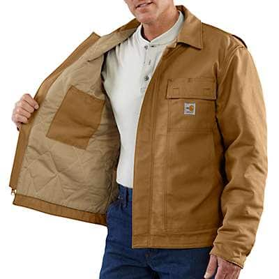 Carhartt Men's Carhartt Brown Flame-Resistant Lanyard Access Jacket/Quilt-Lined - front