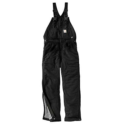 Carhartt Men's Black Flame-Resistant Duck Bib Overall/Quilt-Lined - front