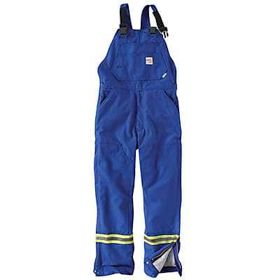 Carhartt Men's Royal Flame-Resistant Striped Duck Bib Overall/Quilt-Lined - front