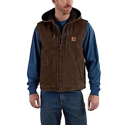 Carhartt Men's Dark Brown Fleece-Lined Knoxville Hooded Vest - front