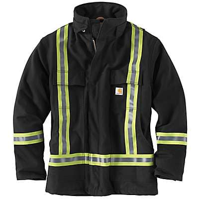 Carhartt Men's Black High-Visibility Striped Duck Traditional Coat/Quilt-Lined - front