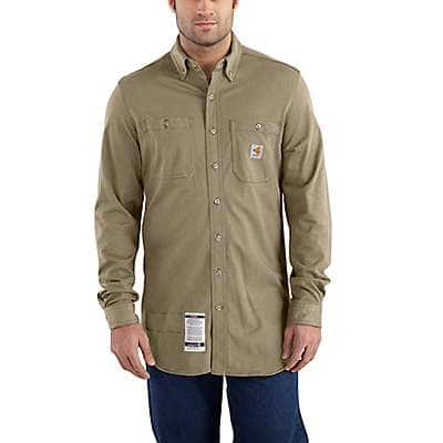 Carhartt Men's Khaki Flame-Resistant Carhartt Force® Cotton Hybrid Shirt - front