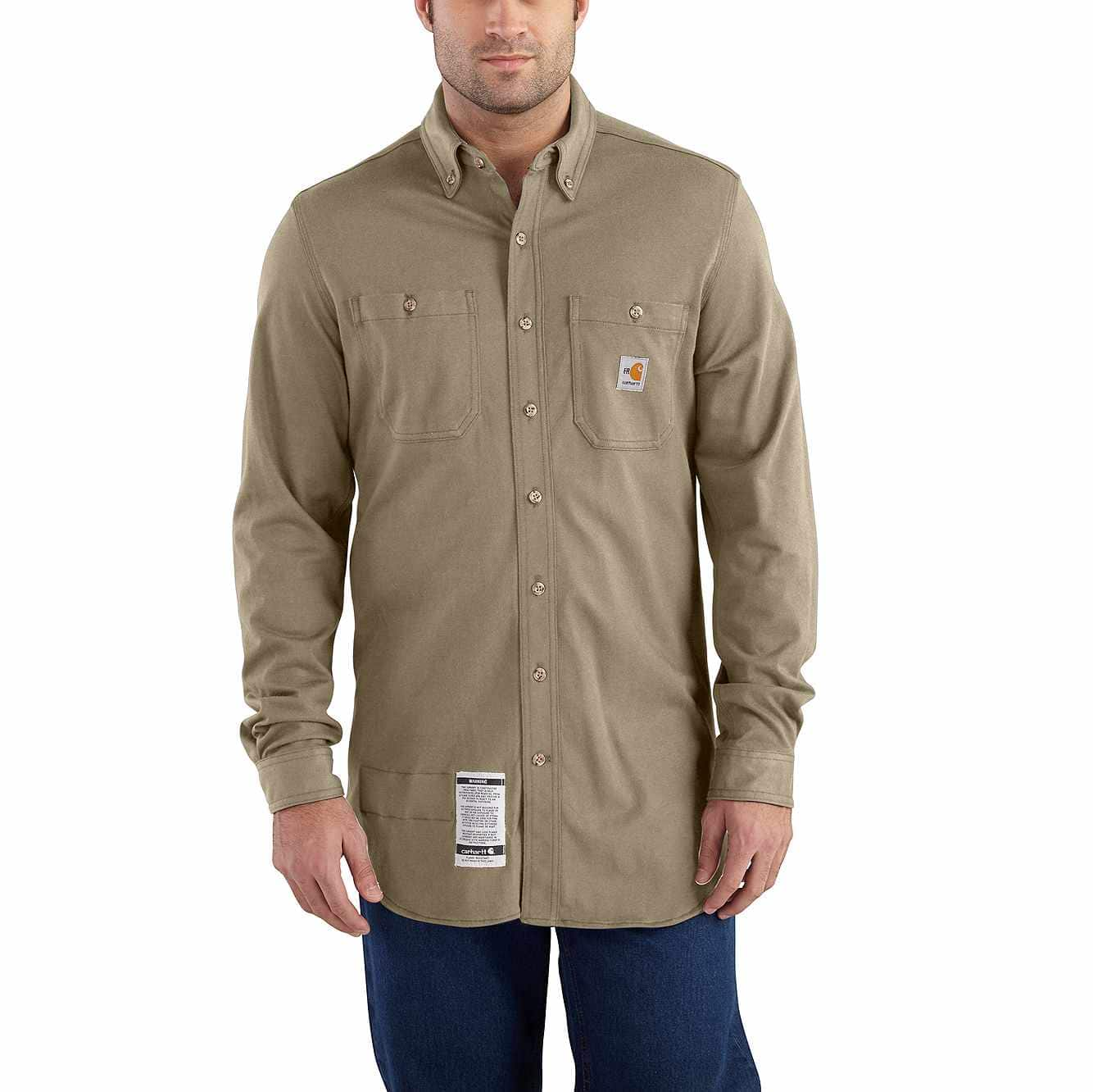 Picture of Flame-Resistant Carhartt Force® Cotton Hybrid Shirt in Khaki