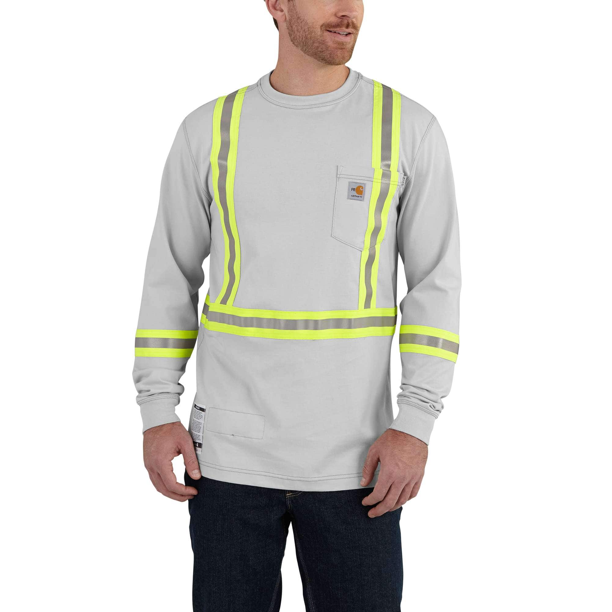 50143213c346 Men s Flame-Resistant Striped Carhartt Force® Cotton Long-Sleeve T ...