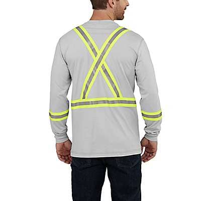 Carhartt Men's Light Gray Flame-Resistant Striped Carhartt Force® Cotton Long-Sleeve T-Shirt - back