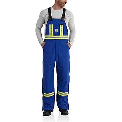 Carhartt Men's Royal Flame-Resistant Striped Duck Bib Overall/Unlined - front