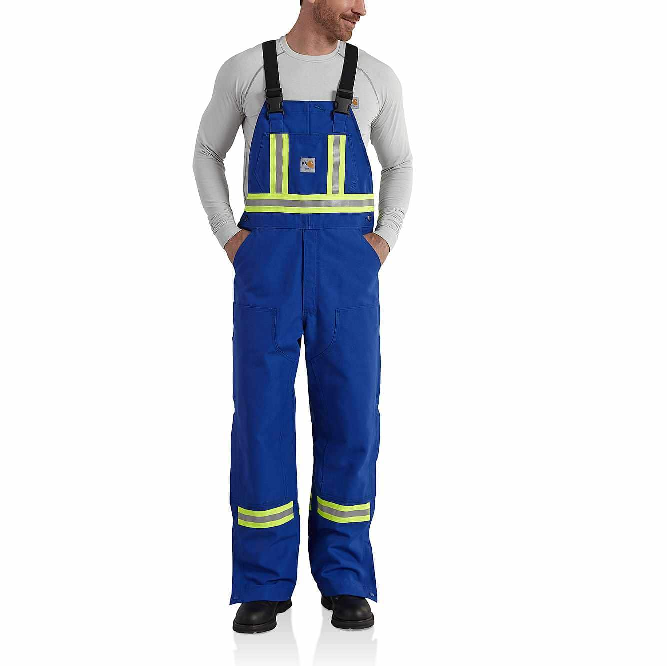 Picture of Flame-Resistant Striped Duck Bib Overall/Unlined in Royal