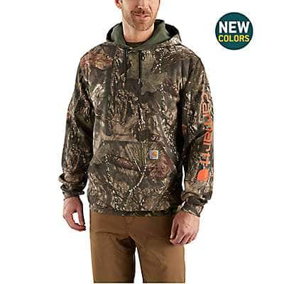 783132357d545 Carhartt Men's Mossy Oak Break-Up Country Midweight Camo Sleeve Logo Hooded  Sweatshirt - front ...