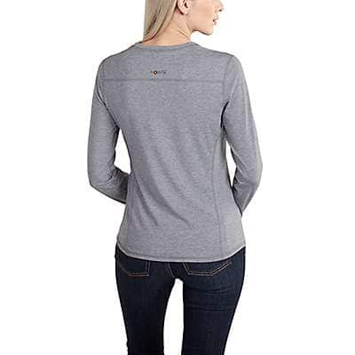 Carhartt Women's Burnt Coral Heather Carhartt Force® Performance Long Sleeve V-Neck T-Shirt - back