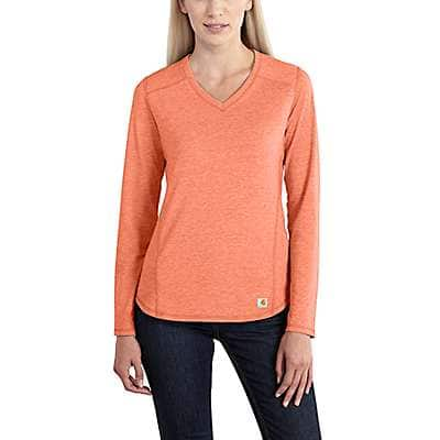 Carhartt Women's Burnt Coral Heather Carhartt Force® Performance Long Sleeve V-Neck T-Shirt - front
