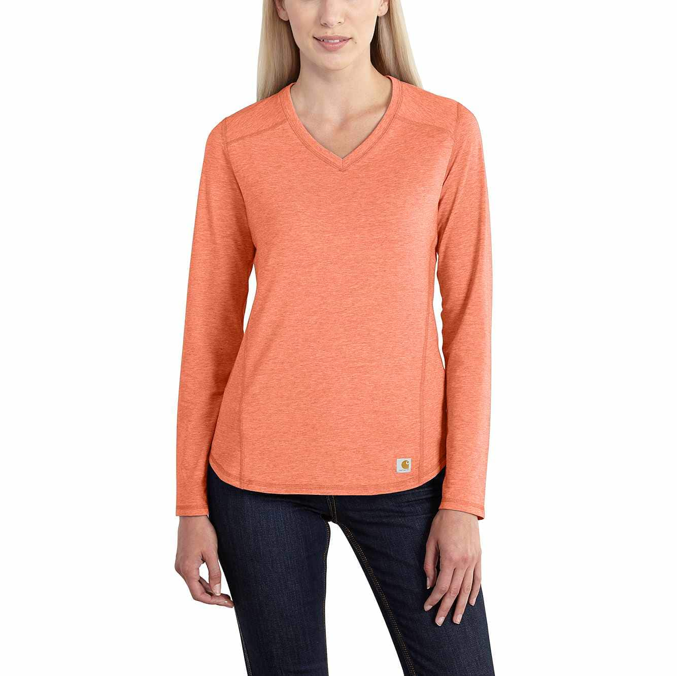 Picture of Carhartt Force® Performance Long Sleeve V-Neck T-Shirt in Burnt Coral Heather