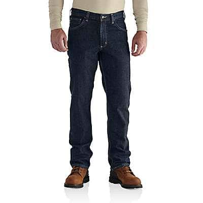 Carhartt Men's Deep Indigo Wash Flame-Resistant Rugged Flex® Jean - Straight Traditional Fit - front
