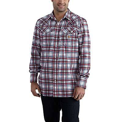 Carhartt Men's Navy Flame-Resistant Snap-Front Plaid Shirt - front