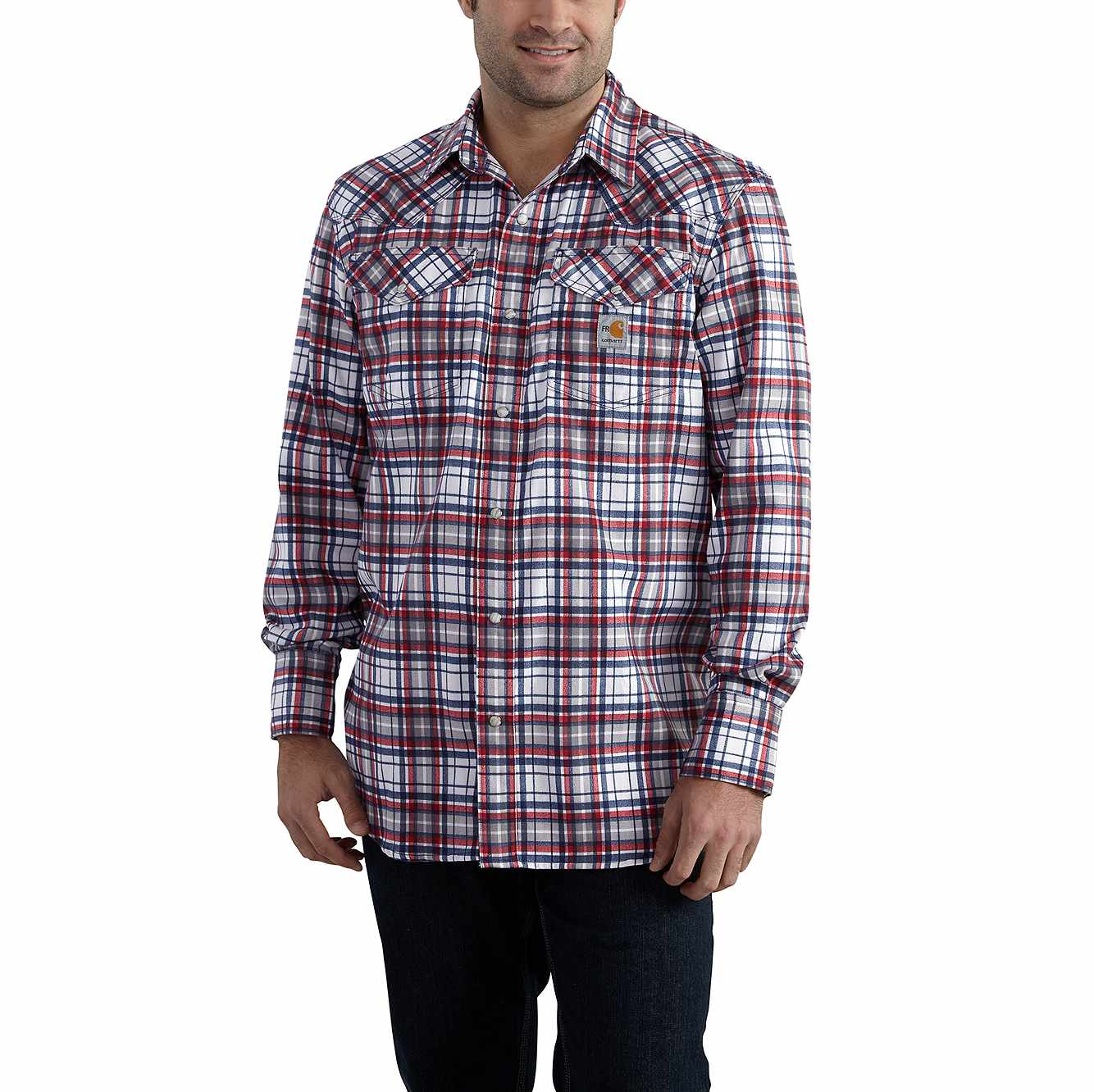 Picture of Flame-Resistant Snap-Front Plaid Shirt in Navy