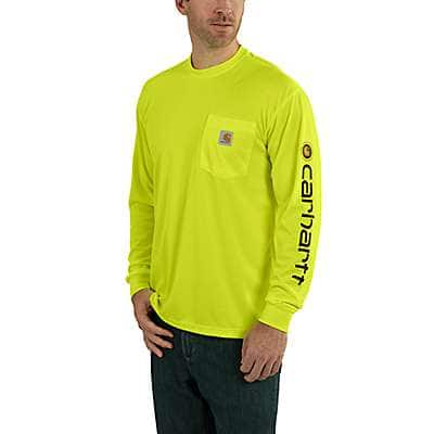 Carhartt Men's Brite Lime Carhartt Force® Color-Enhanced Graphic Long-Sleeve T-Shirt - front