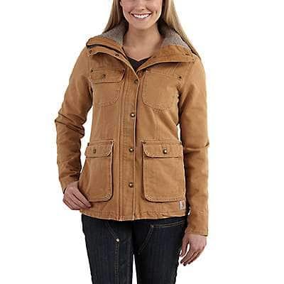 Carhartt Women's Carhartt Brown OC2247 W Weathered Duck Shrp Lnd Coat