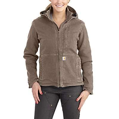 Carhartt Women's Taupe Gray/Shadow Full Swing® Loose Fit Washed Duck Sherpa-Lined Jacket