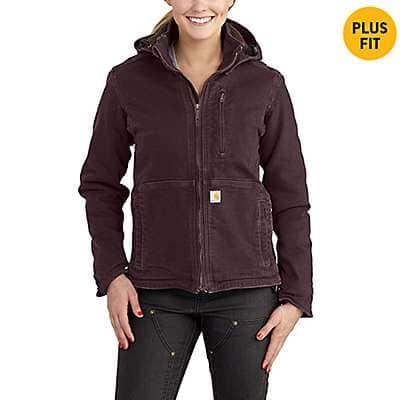 Carhartt Women's Deep Wine/Shadow Full Swing® Loose Fit Washed Duck Sherpa-Lined Jacket