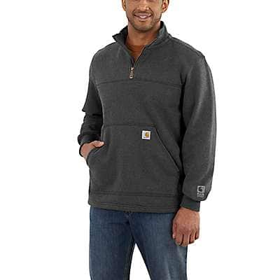 Carhartt Men's Black Rain Defender® Paxton Heavyweight Quarter-Zip Sweatshirt - back