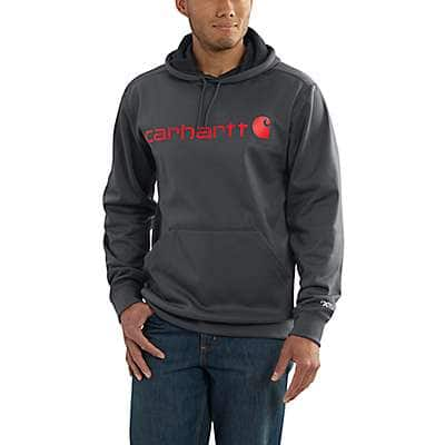 Carhartt Men's Granite Heather Force Extremes® Signature Graphic Hooded Sweatshirt - front