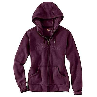 Carhartt Women's Potent Purple Heather Clarksburg Zip Front Hoodie - front