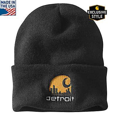 Carhartt Men's Black Special Edition Detroit Acrylic Watch Hat - front